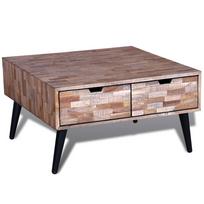 Rocambolesk - Superbe Table basse avec 4 tiroirs en teck recyclé neuf