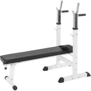 gorilla sports banc de musculation avec support de barres 10000118 noir ou blanc pas cher. Black Bedroom Furniture Sets. Home Design Ideas