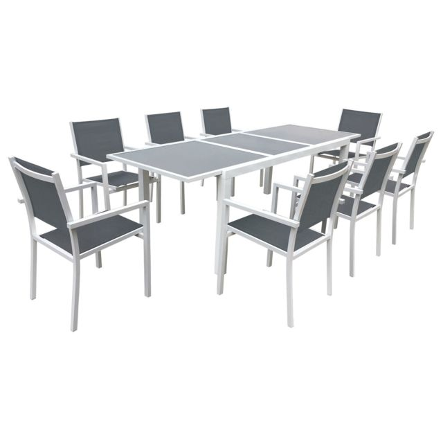 HAPPY GARDEN Salon de jardin FIRENZE extensible en textilène gris 8 places - aluminium blanc
