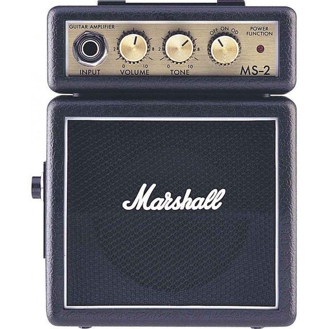 Marshall Ms2 2 watts noir - alimentation sur pile Ampli guitare Marshall Ms2 2 watts noir /micro ampl. pile