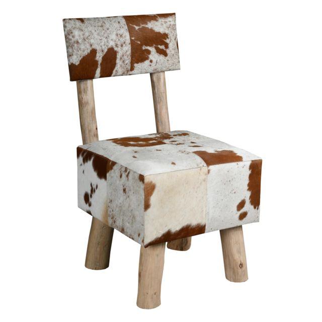 AUBRY GASPARD Chaise en peau de vache et eucalyptus