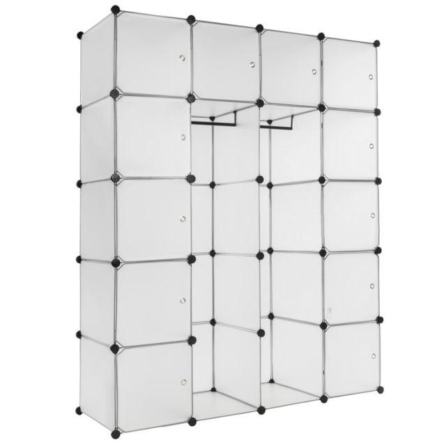 helloshop26 armoire de rangement meuble penderie tag re blanc xxl 2008075 pas cher achat. Black Bedroom Furniture Sets. Home Design Ideas