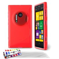 "Muzzano - Coque Souple Ultra-Slim ""Le S"" Premium Rouge pour Nokia Lumia 1020 + 3 Films de protection ?cran"