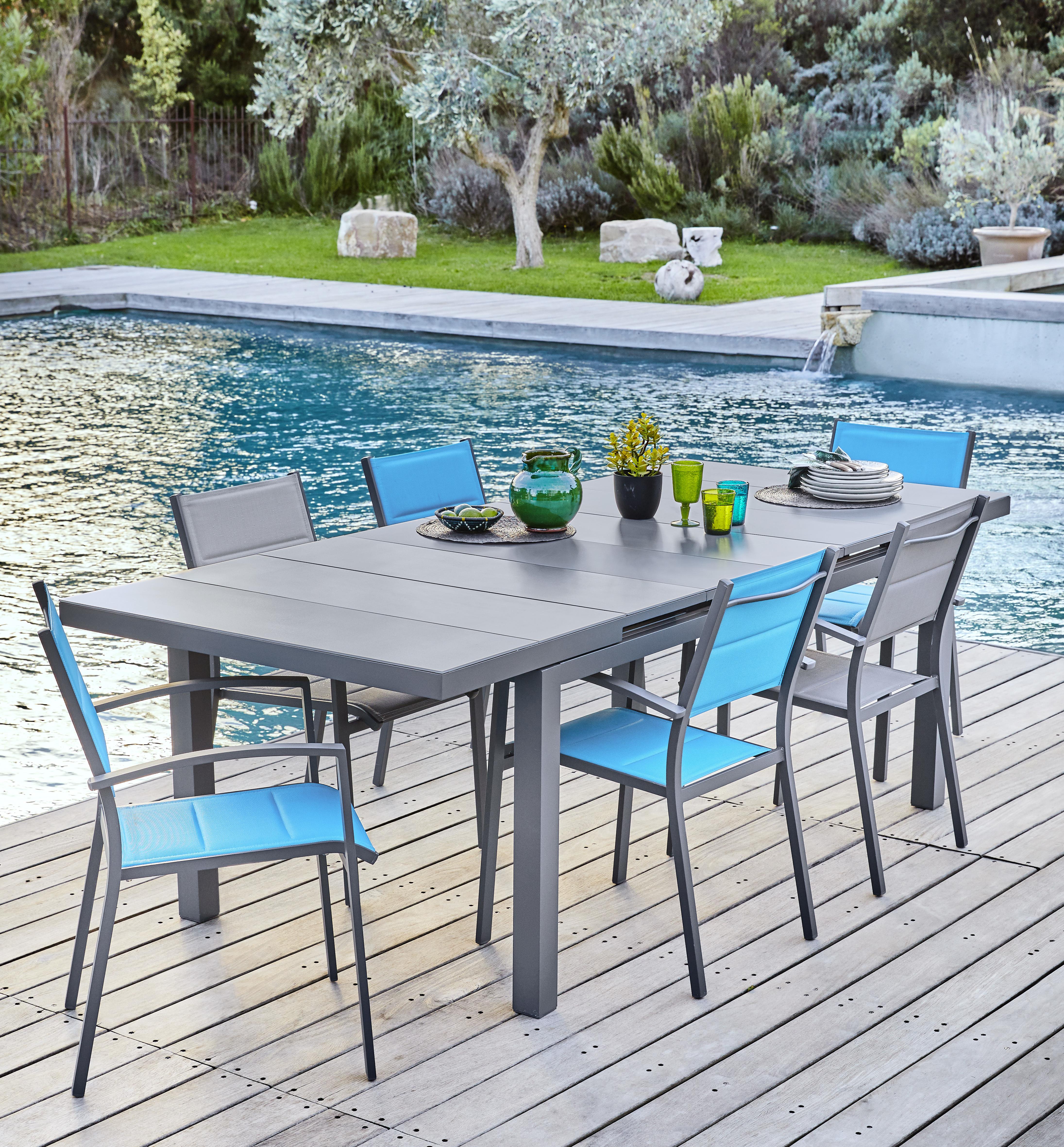 hyba ensemble table canberra allonge automatique 180 240 6 fauteuils canberra gris empilable. Black Bedroom Furniture Sets. Home Design Ideas