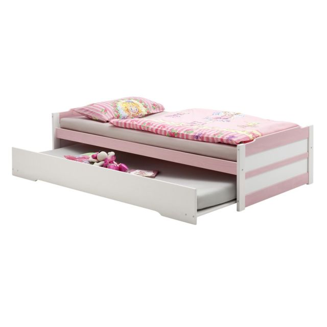 IDIMEX Lit gigogne LORENA 1 personne tiroir lit fonctionnel 90 x 200 cm pin massif lasuré blanc et rose