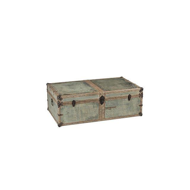 Table basse coffre 120x70x40cm en bois vert et zinc
