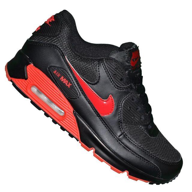 Nike Basket Femme Air Max 90 231 Noir Rouge pas