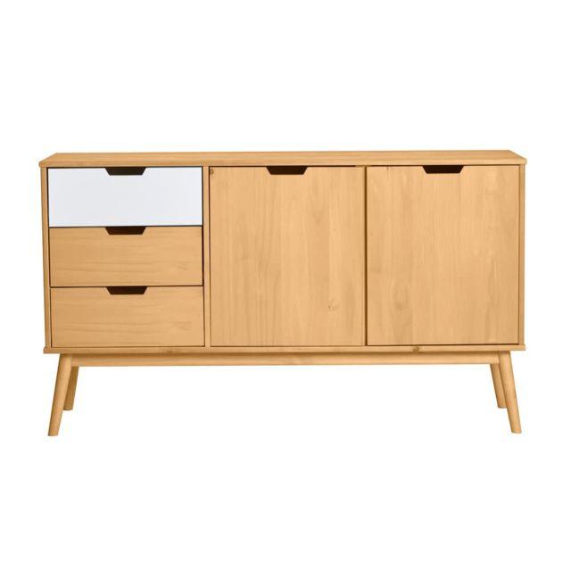 Kaligrafik Buffet 2 portes 3 tiroirs en bois massif L141 cm Fifties - Blanc