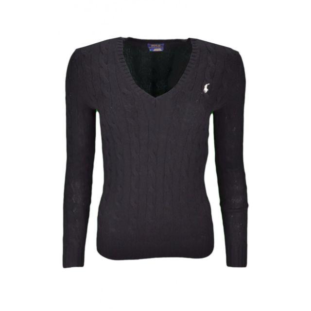 Ralph Lauren - Pull col V Kimberly en laine noir pour femme - pas cher  Achat   Vente Pulls femme - RueDuCommerce 0f28aba88c34
