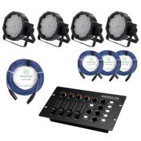 Showlite - Flp-144W projecteur 4 x Set y compris le contrôleur Dmx + câble