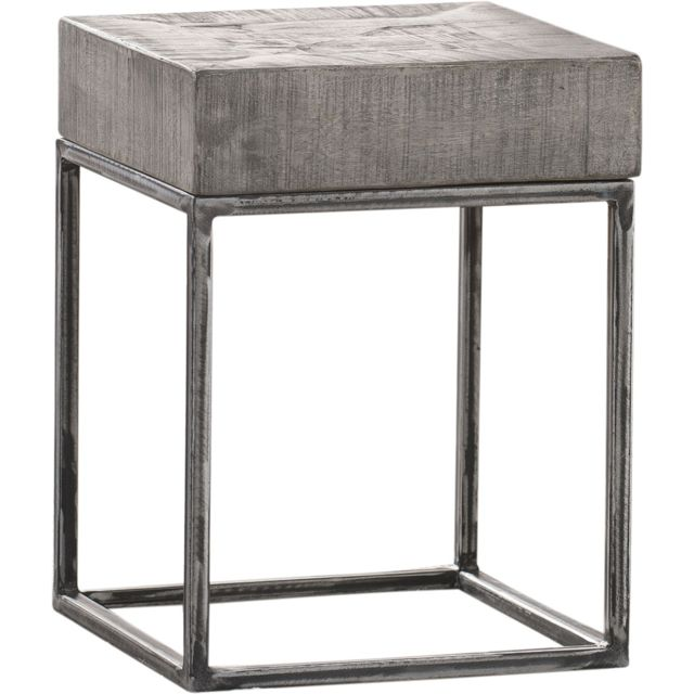 COMFORIUM Table d'appoint en bois massif manguier antique gris 30x30cm