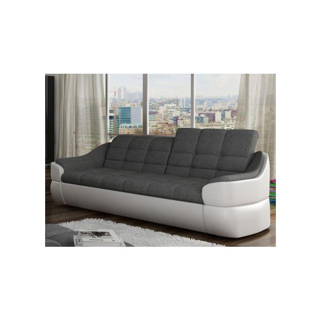 MARQUE GENERIQUE Canapé 3 places en tissu et simili FAREZ - Bicolore gris et blanc