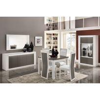comforium ensemble salle manger avec table carre coloris blanc et gris laqu brillant - Salle A Manger Grise Et Blanche