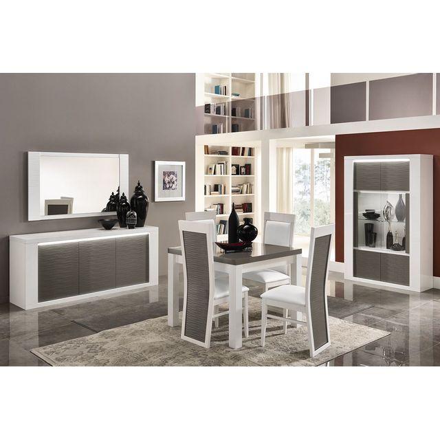 Comforium Ensemble salle à manger avec table carrée coloris blanc et gris laqué brillant