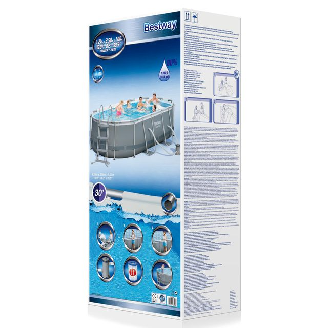 BESTWAY - Kit Piscine ovale - L 424 x l 250 x H 100 cm - 56620