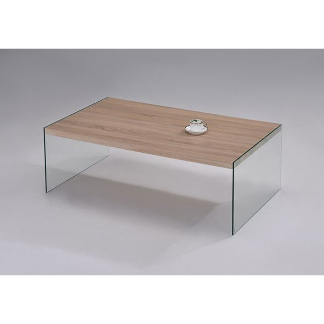 Sofamobili Table basse moderne couleur chêne clair et verre Woody