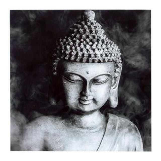 Paris Prix Cadre Déco En Verre Bouddha 50x50cm Noir Blanc