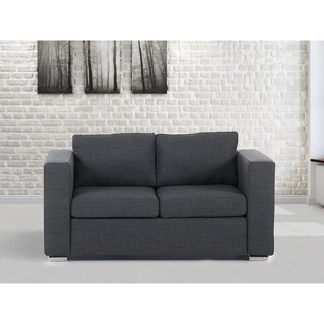 Beliani Canapé 2 places - canapé en tissu gris foncé- sofa Helsinki