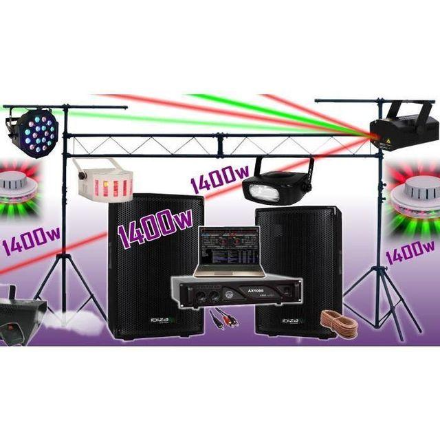 Ibiza Sound Pack sono 1400w - ampli - enceintes - 6 jeux de lumière - machine a fumée - portique de 3m - padj led