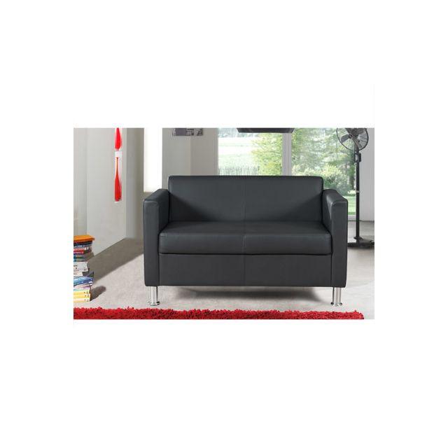 Canapé 2 places fixes en Pvc noir Modena
