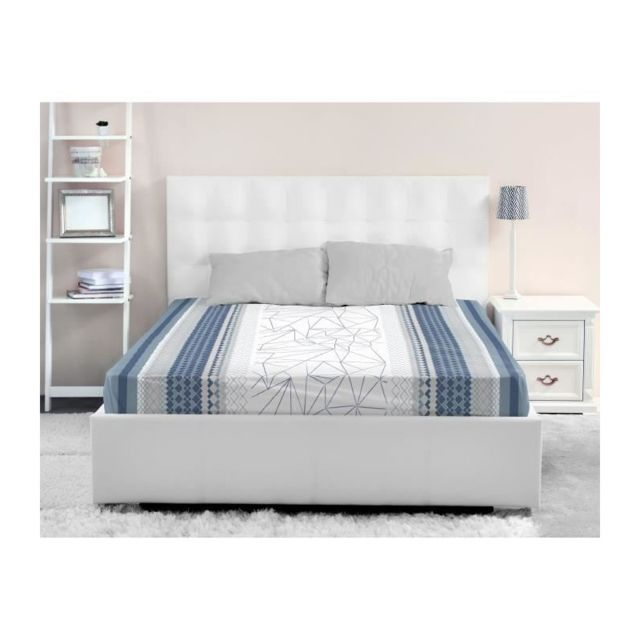 lovely home drap housse 100 coton ice 140x190 cm bleu 40cm x 190cm pas cher achat vente. Black Bedroom Furniture Sets. Home Design Ideas