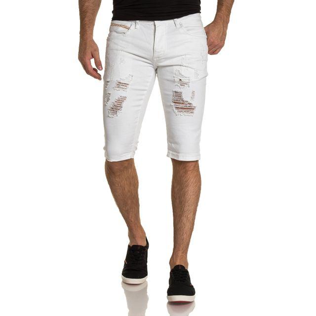 6228d68975f9 BLZ Jeans - Bermuda blanc en jean déchiré fashion - pas cher Achat ...