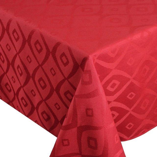 Linnea nappe rectangle 150x300 cm jacquard 100 polyester brunch rouge