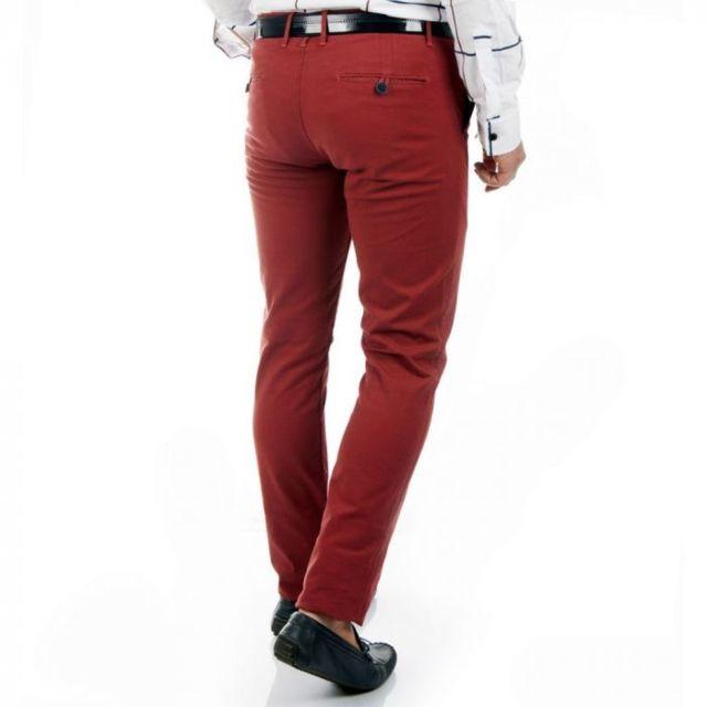49439e1d0f2b5 Prestige Man - Pantalon chino rouge slim - pas cher Achat / Vente ...