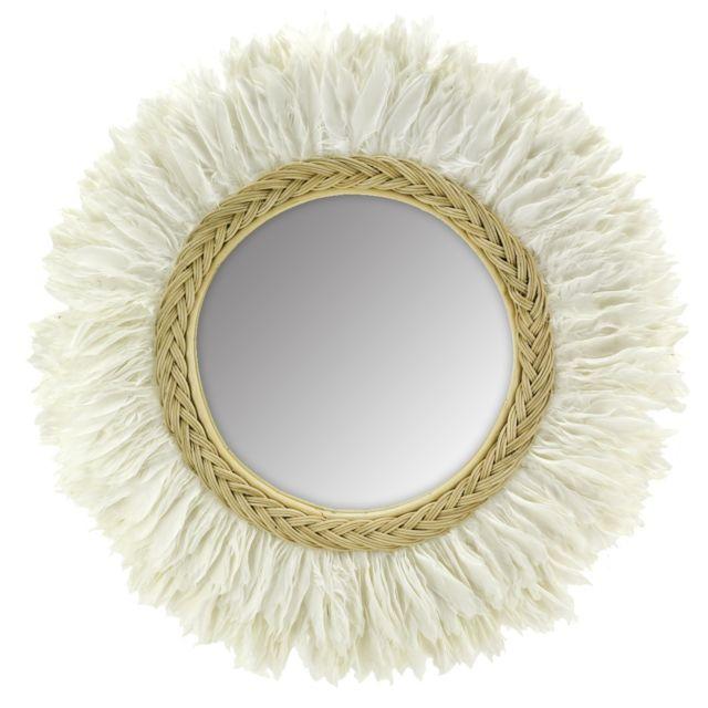 AUBRY GASPARD Miroir en rotin et plume de cygne 70 cm