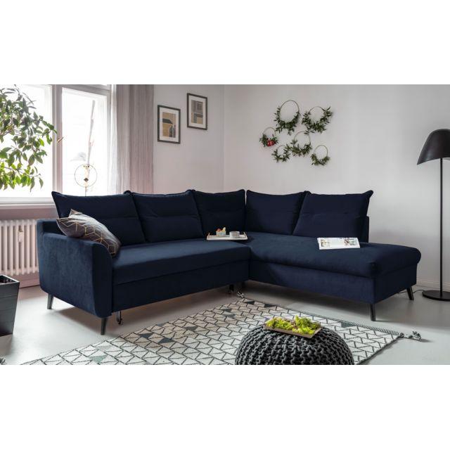 BOBOCHIC BERGAMO - Canapé d'angle L convertible - 5 places - Droit Couleur - Bleu marine