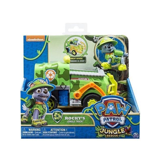 pat patrouille rocky et son camion poubelle jungle rescue figurine et vehicule paw patrol. Black Bedroom Furniture Sets. Home Design Ideas