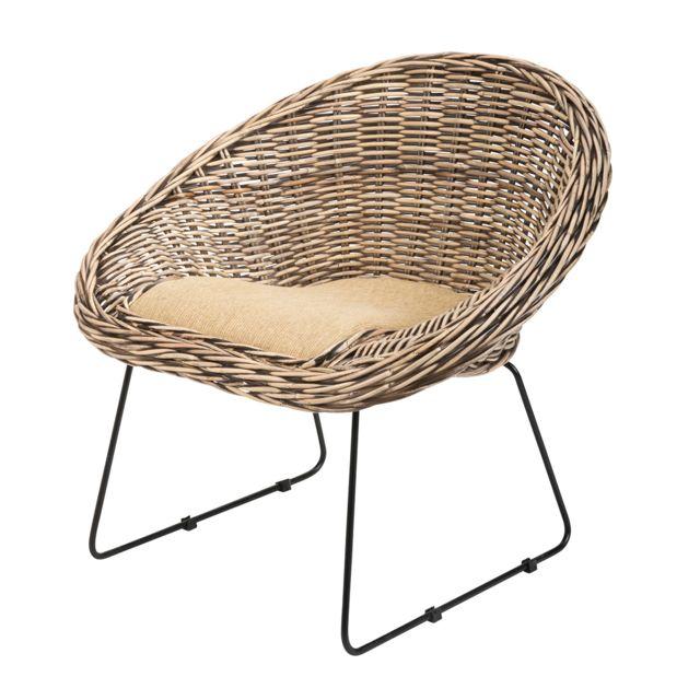 Rotin-design Soldes: -40% Fauteuil Segur en kubu tressé et pieds métalliques - Rotin Design