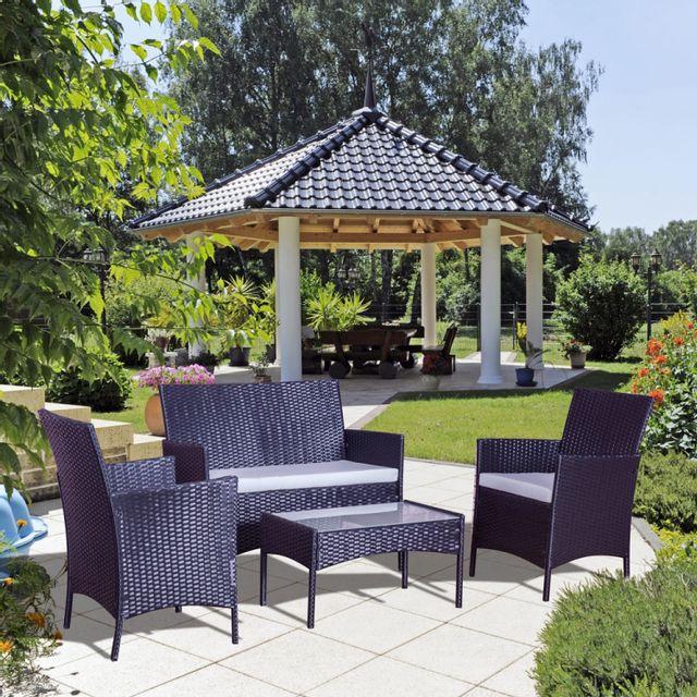 Concept usine mykonos gris noir ensemble de jardin en resine tressee 4 places fauteuil canape table