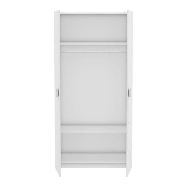 ARMOIRE MISTIGRI 261536 Armoire de chambre - 2 portes - Blanc mat et gris clair