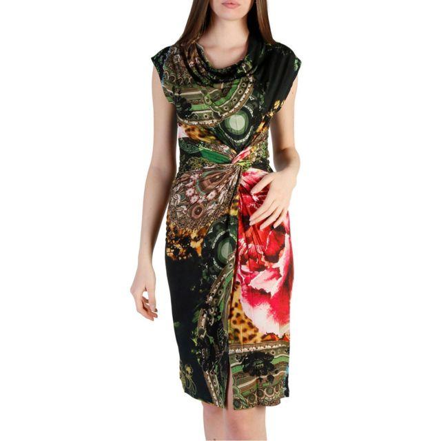 Cher Pas Achat Desigual Robe Imprimée Ybf6yg7 Femme Multicolore 1TlK3JFc