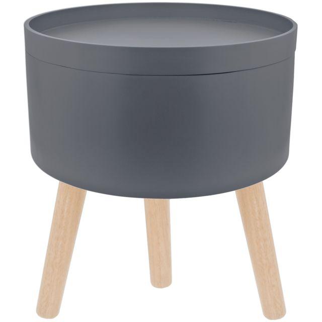 Table De Salon Scandinave Avec Plateau Amovible Coffre Gris