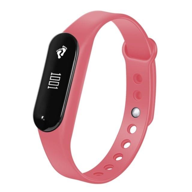 Wewoo - Bracelet connecté rose 0,69 pouces Oled Bluetooth Smart Display, moniteur de fréquence cardiaque de / Podomètre / Appels Rappel / de sommeil / sédentaire / Alarme / Anti-perte, Compatible avec Android et iOS Téléphones