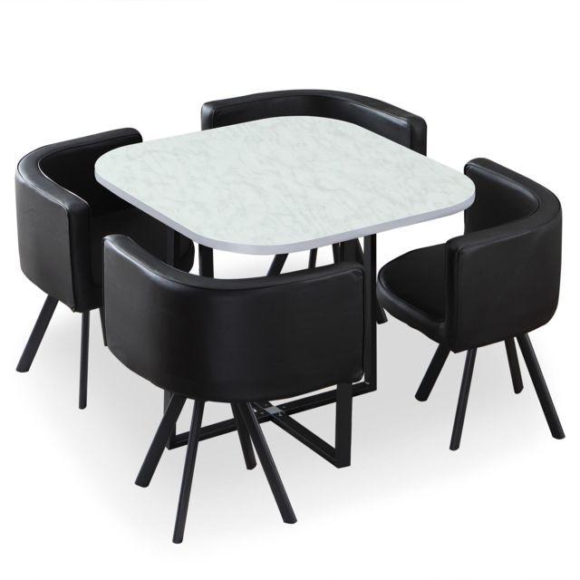 MENZZO Table et chaises Oslo Effet Marbre et Simili Noir