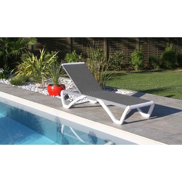 Dcb Garden Chaise longue Rige blanc et gris
