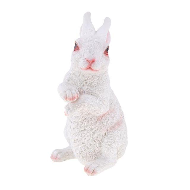 Représentation artificielle réaliste de statue de lapin de lapin d'animaux de résine artificielle blanche