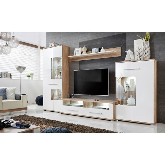 dusine meubles rangements sohalia avec armoire pour salon tv led marron pas cher achat. Black Bedroom Furniture Sets. Home Design Ideas