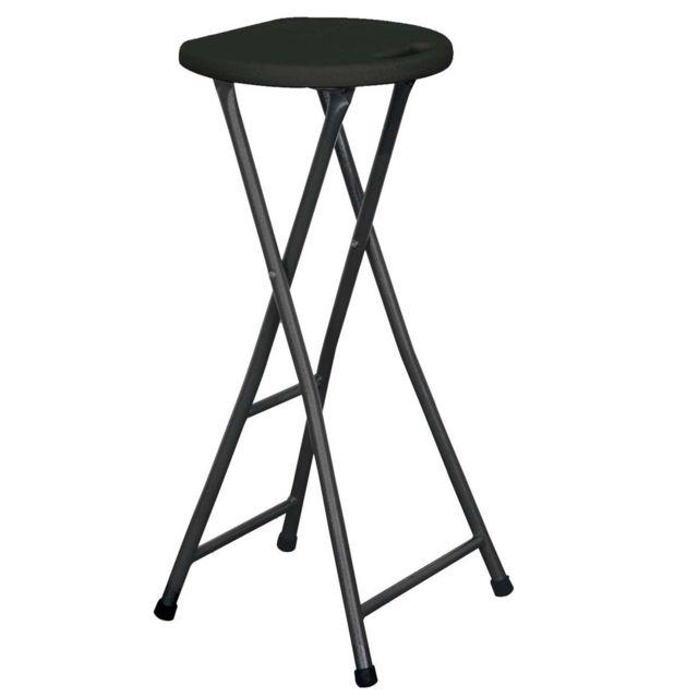mobeventpro tabouret haut pliant noir hauteur non r glable pas cher achat vente tabourets. Black Bedroom Furniture Sets. Home Design Ideas