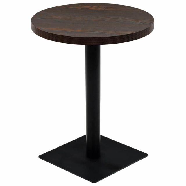 Vidaxl Table de Bistro Mdf et Acier Rond 60x75 cm Frêne Foncé Café Décor