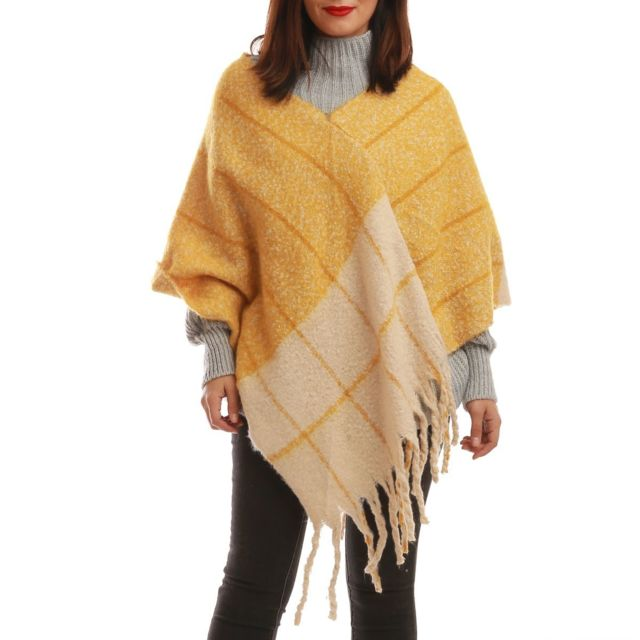 Lamodeuse - Poncho jaune à motifs asymétriques - pas cher Achat ... cc3cbfece3a