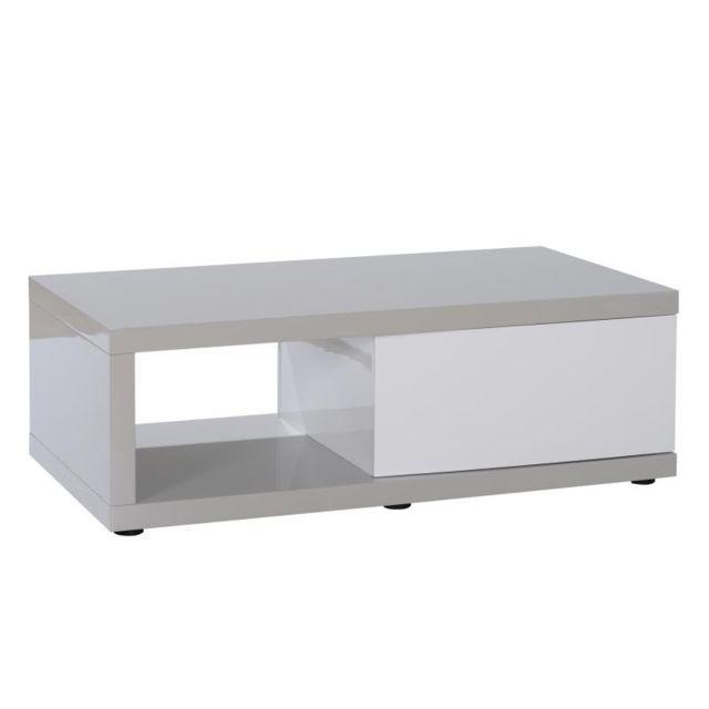Tousmesmeubles Table basse 1 porte Gris/Blanc - Pattaya