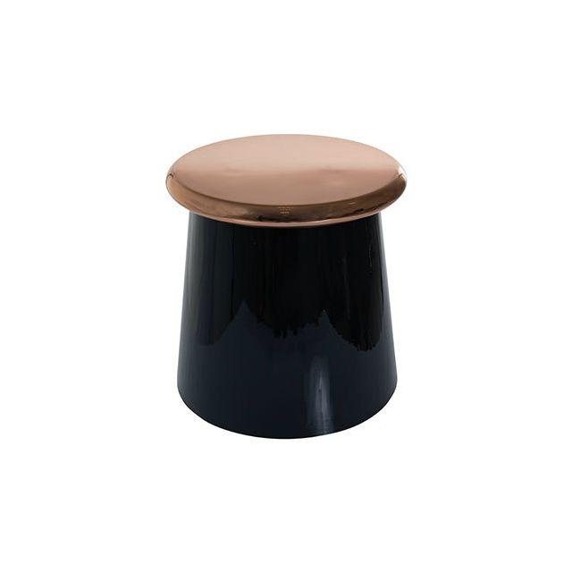 Table d'appoint 41x41x41cm cuivre et noir brillant