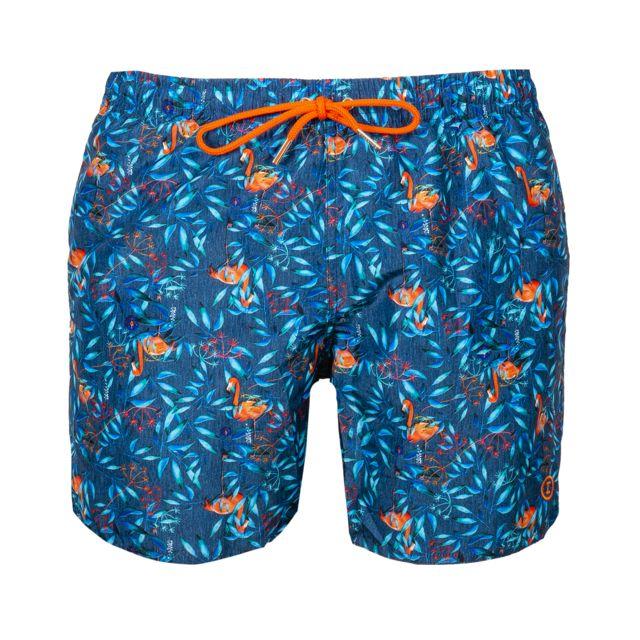 Impetus Short de bain bleu effet denim à motifs feuilles bleu turquoise et rouges et flamants roses orange