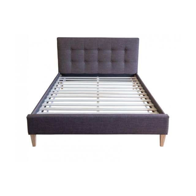 Homestyle4U Lit double en tissu marron rembourre 180 x 200 cm