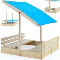 Rocambolesk - Superbe Bac à sable 120x120 avec pare-soleil et bancs intégrés jeux enfants Neuf
