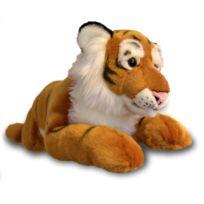Soft Friends - Peluche tigre allongé 60 cm : Marron